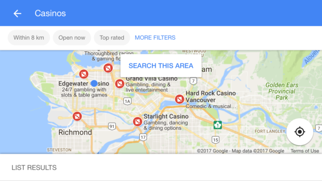 Map of Casinos in Vancouver
